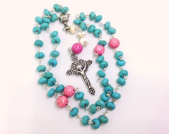 Lutheran Prayer Beads — Turquoise, Pink, & White Magnesite — 5 Decades