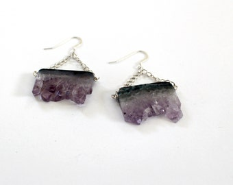 Double geode amethyst slice earrings