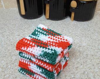 Crochet Wash Cloths Crochet Dish Cloths 100% Cotton Handmade Washrag Set of 4 Kitchen Dishcloths Crocheted Dish Cloths Potholder