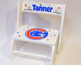 Kid's Stool Personalized Chicago Cubs Baseball
