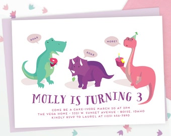 Girls Dinosaur Party Invitation | Pink Dinosaur Party | Birthday Party Printable or Evite