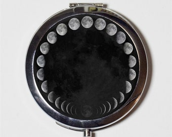 Moon Phases Compact Mirror - Celestial Outerpace - Make Up Pocket Mirror for Cosmetics