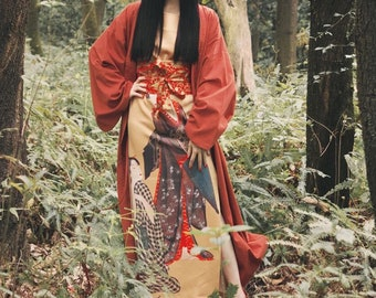 Lost in Kyoto collection Japanese yellow carp fish/black fox/maroon red fox long kimono outwear
