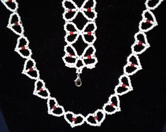 Little Girl's or Petite White and Red Hearts Necklace and Bracelet Set