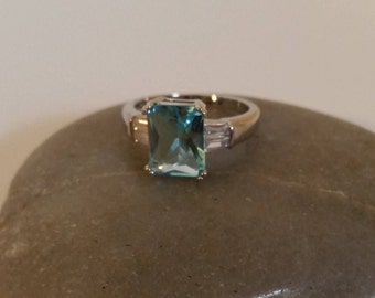Wedding Ring Lab.Aquamarine,Lab Aquamarine Ring, Size 7