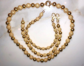 18K Yellow Gold Beaded Necklace- Has Matching Bracelets