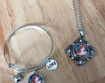 Beauty and the beast belle necklace bracelet set! free shipping!
