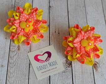 Bows with butterflies Yellow bows Coral bows Red bows Bows are bright Bows Butterfly Bows Girl Hair Clip Baby Hair Bow Bow For Hair