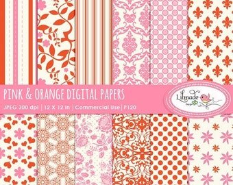 50%OFF Digital papers, pink and orange digital scrapbook papers, vintage scrapbook papers, damask digital papers, P120