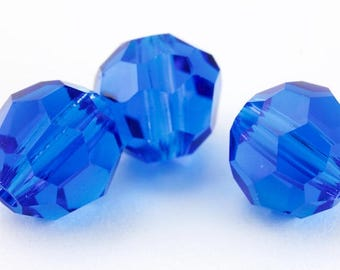 6mm Sapphire Faceted Round Preciosa Bead #KKB008