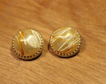 Cream / White / Orange Circle Clip On Earrings, item #178