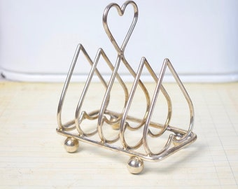Vintage toast or letter rack, silver plated heart shaped