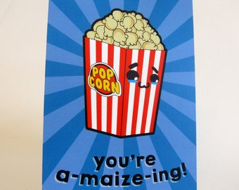 A6 Kawaii Popcorn Postcard Print