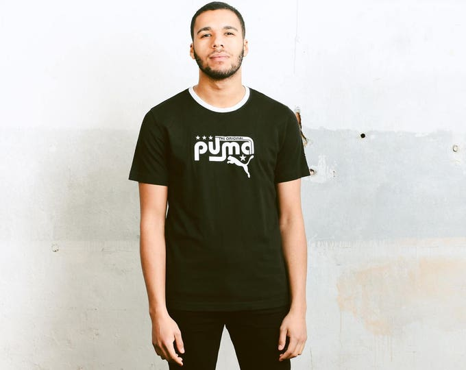 Vintage Puma T-Shirt . Mens Urban T-Shirt Black Sports Top Skater Tee Shirt Activewear Mens 90s Fashion Boyfriend Wear . size Small
