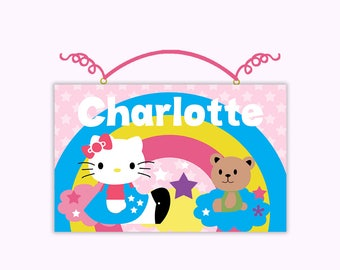 Personalized Hello Kitty Rainbow and Stars Canvas on Wood Door Sign Plaque Nursery Decor Baby Kids