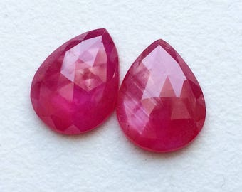 Ruby Faceted Pear Flat Back Cabochon, 8x10mm Matched Pair Glass Filled Ruby Cabochon, Loose Ruby Gemstones, Ruby Earrings - PUSPH3