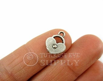 15 pc Silver Heart Charms, Club Pendants, Antique Silver Plated Mini Heart, Turkish Jewelry