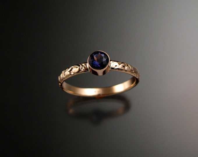Iolite ring 14k Rose Gold bezel set Victorian floral pattern deep blue Sapphire substitute substitute ring made to order in your size