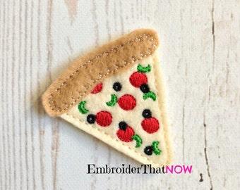 INSTANT DOWNLOAD Pizza Feltie Embroidery Design File