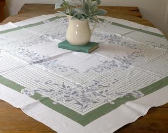"""Vintage Linen Tablecloth, Cottage Style Linen Tablecloth, Blue Gray and Green Linen Tablecloth, Kitchen Tablecloth Farmhouse Kitchen, 50"""" sq"""