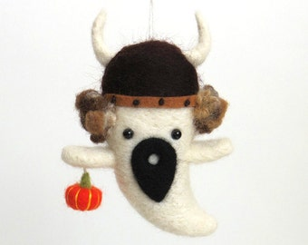 Halloween ghost ornament : needle felted ghost viking with curly hair and an orange pumpkin