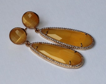 Free Shipping. Golden Earrings with mustard crystal and zircons pendant