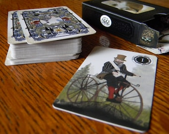 Miniature 1889 Lenormand Oracle - Miniature Deck (41x63mm) 36 Cards and Keywords Card - Mini