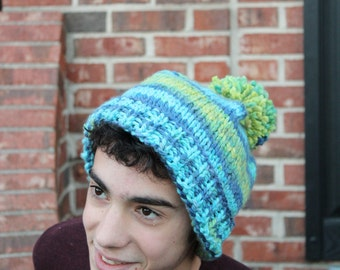 Striped Blue and Green Crochet Hat