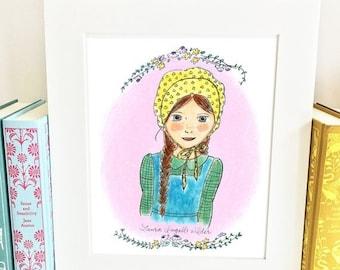 ON SALE Laura Ingalls Wilder Print - Little House on the Prairie - girls room decor - HLI