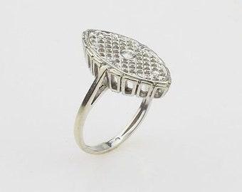 14k White Gold Antique Diamond Filigree Ring Size 5.75