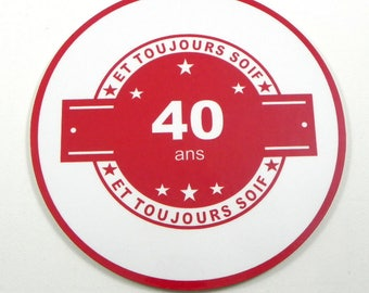 Personalized birthday gift 40 years and always thirsty gift funny humour birthday coaster 50 30 coaster