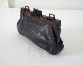Vintage Black Leather Clutch Purse with Mod Tortoiseshell Kiss Clasp
