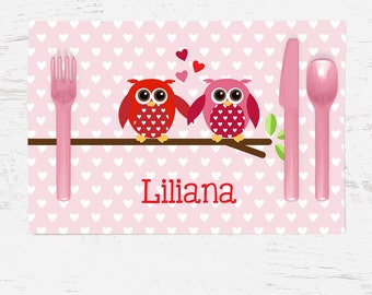 Children's Placemat - Valentine's Day Owls Placemat - Personalized with Child's Name - Custom Placemat - Pink and Red Owls