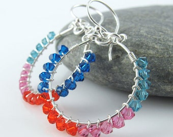 Tropical Flare Hoop Earrings - Sterling Silver, Wire Wrapped Swarovski Crystals