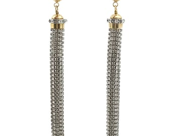 Authentic Louis Vuitton Crystal Extra Long Tassel Pierced Earrings