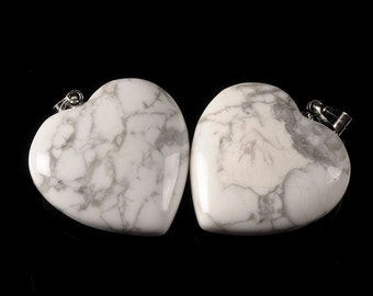 g2333 Two 25mm Howlite heart pendant focal bead