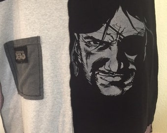 Walking Dead Upcycled Repurposed Tshirt Skirt Gray and Black