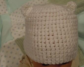 Crochet Baby Bear Ears Hat 0-3m