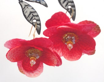 Spring Flower Earrings - Vermilion Silk Flowers with Yellow Crystals on Gold Wire
