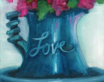 Pitcher of love, painting, hydrangea painting, country art, still life, floral still life, oil painting, ready to hang, original art