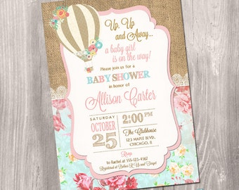 Hot air balloon baby shower invitation, Up Up and Away baby shower invitation, girl baby shower invite, burlap digital, Printable Invitation
