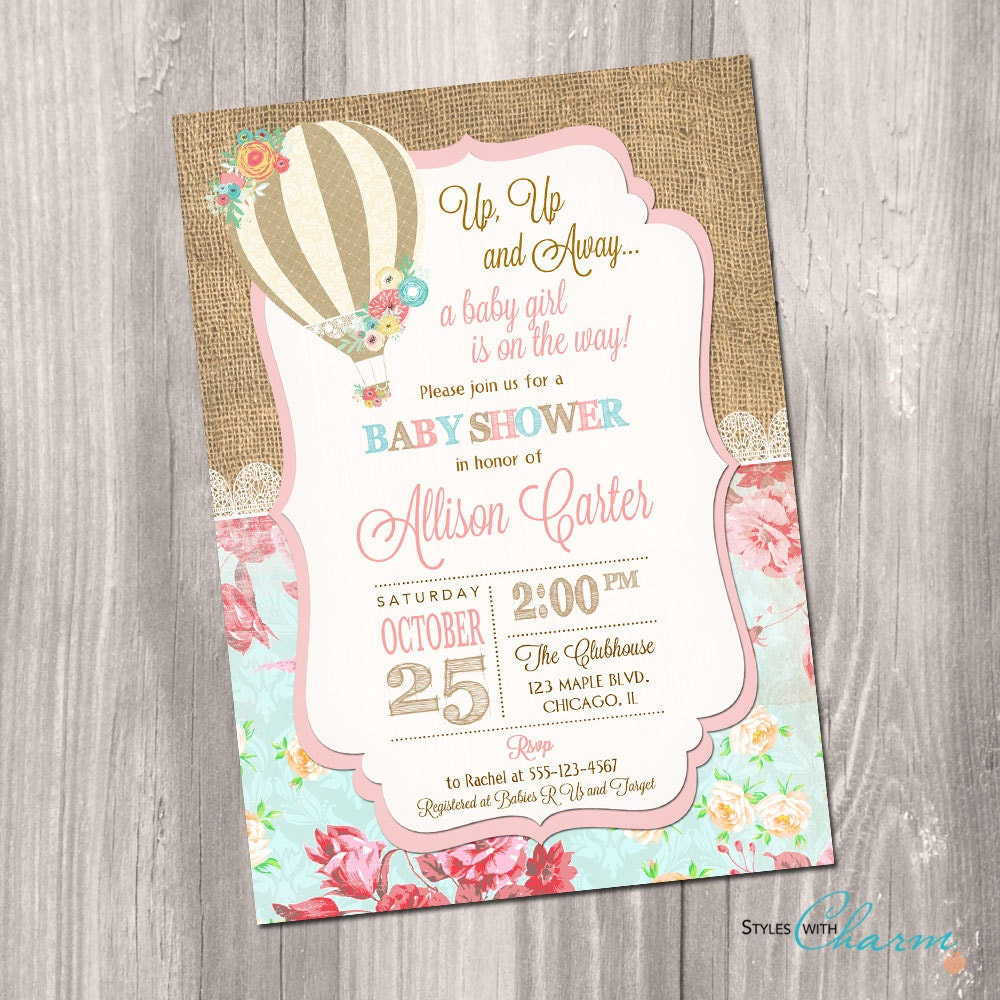 Hot air balloon baby shower invitation up up and away baby zoom filmwisefo