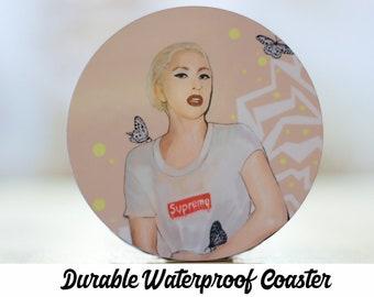 Lady Gaga Art Coaster / Supreme / Boss Lady / Feminist / Joanne / Born This Way / Slay / Coasters / Girl Power / Housewarming Gift / For Her