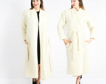 80s White Wool Coat | Knit Sweater Coat | Schrader Knits | Medium