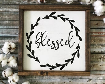 Blessed Sign, Fall Sign, Rustic Wood Sign, Thanksgiving Sign, Kitchen Sign, Dining Room Sign, Farmhouse Sign, Fall Decor, Blessed Wood Sign