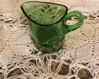 Vintage Green Glass Pitcher . . .