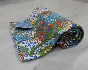 Reversible Kantha Quilt Handmade Vintage Throw Bohemian blanket Indian Bedspread Coverlet Gudri