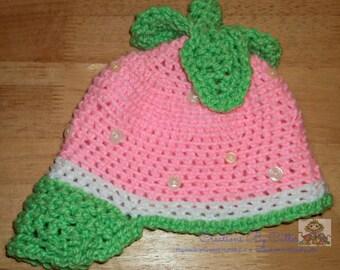 Strawberry Shortcake Inspired Hat, Costume, Photo Prop, Cartoon Character Inspired, Crochet