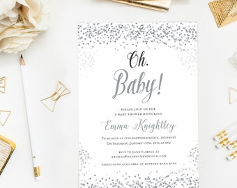 Silver Grey Oh Baby Shower Invitation, Confetti Baby Shower Invite, Gray Winter Shower, Gender Neutral, Baby Girl or Baby Boy