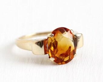 Sale - Genuine Citrine Ring - 1940s Vintage 10k Rosy Yellow Gold Art Deco 2.19 CT - Size 5 Orange Gemstone November Birthstone Fine Jewelry